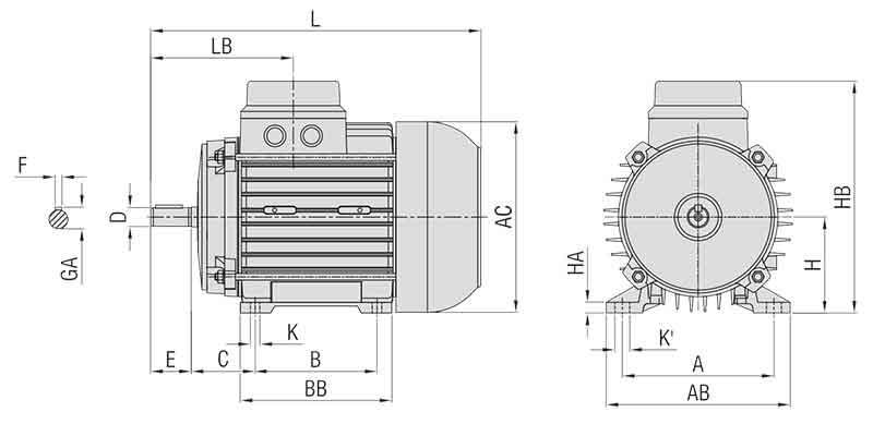 ابعاد الکتروموتور الکتروزن 0.75 کیلووات 3000 دور