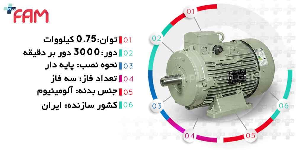 مشخصات فنی الکتروموتور الکتروژن 0.75 کیلووات 3000 دور