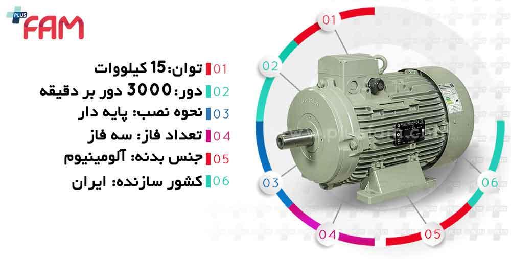مشخصات فنی ابعاد الکتروموتور الکتروژن 15 کیلووات 3000 دور