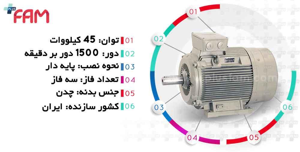 مشخصات فنی الکتروموتور الکتروژن 45 کیلووات 1500 دور