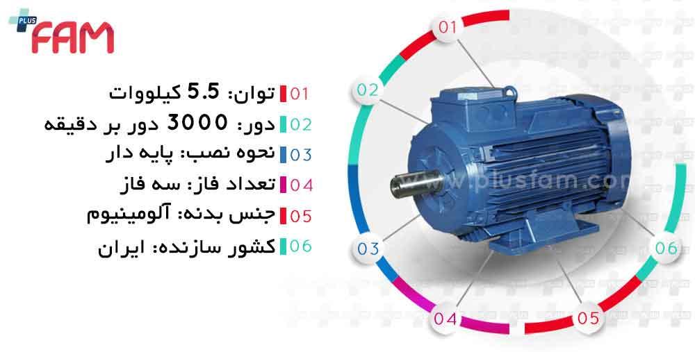 مشخصات فنی الکتروموتور موتوژن 5.5 کیلووات 3000 دور