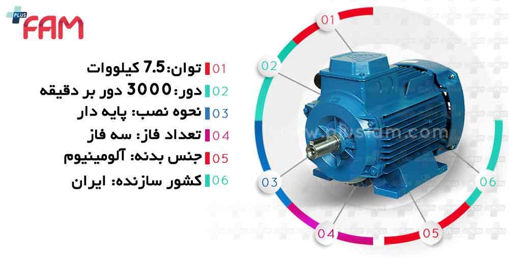 مشخصات فنی الکتروموتور موتوژن 7.5 کیلووات 3000 دور