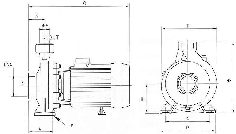 ابعاد پمپ سانتریفیوژ پنتاکس مدل CHT550