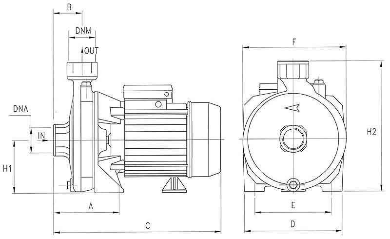 ابعاد پمپ پنتاکس CMT164/01 یک و نیم اسب