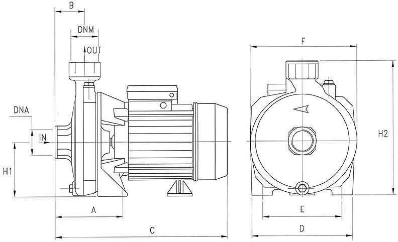 ابعاد پمپ پنتاکس CMT550 بشقابی سه فاز