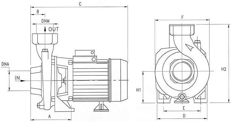 ابعاد پمپ آب Pentax CS300/3