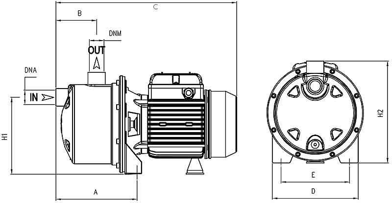ابعاد پمپ پنتاکس INOX100/60