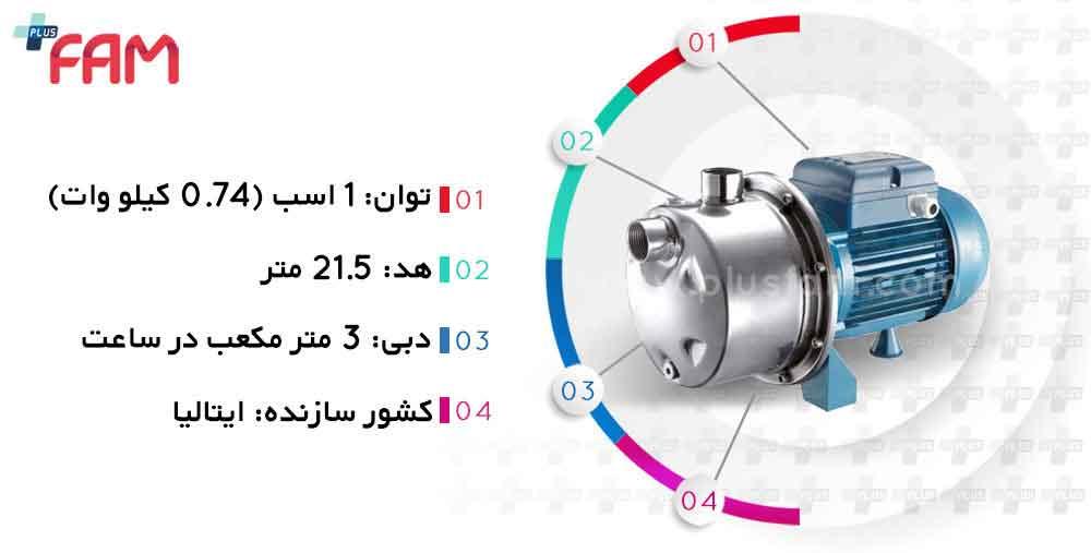 مشخصات فنی پمپ پنتاکس INOX100/60 خودمکش تک پروانه