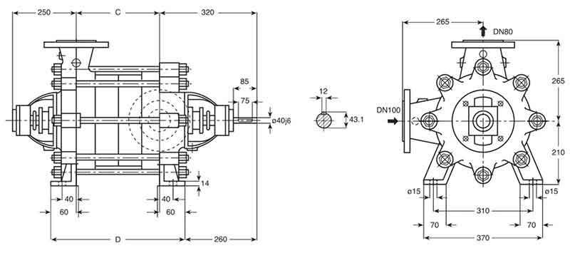 ابعاد پمپ Pumpiran WKL80/6