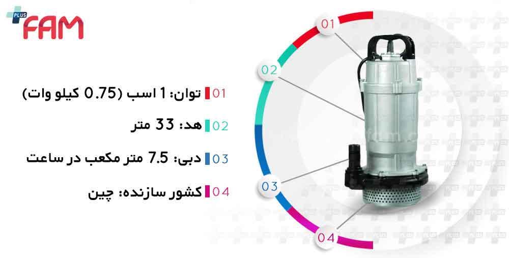 مشخصات فنی پمپ کف کش استریم QDX1.5-32-0.75 تکفاز یک اینچ 32 متری