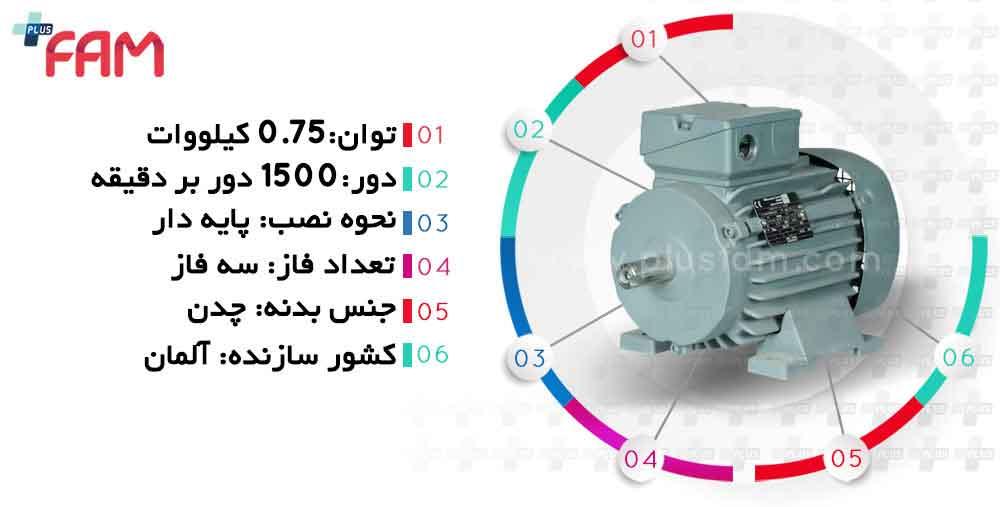 مشخصات فنی الکتروموتور وی ای ام 0.75 کیلووات 1500 دور
