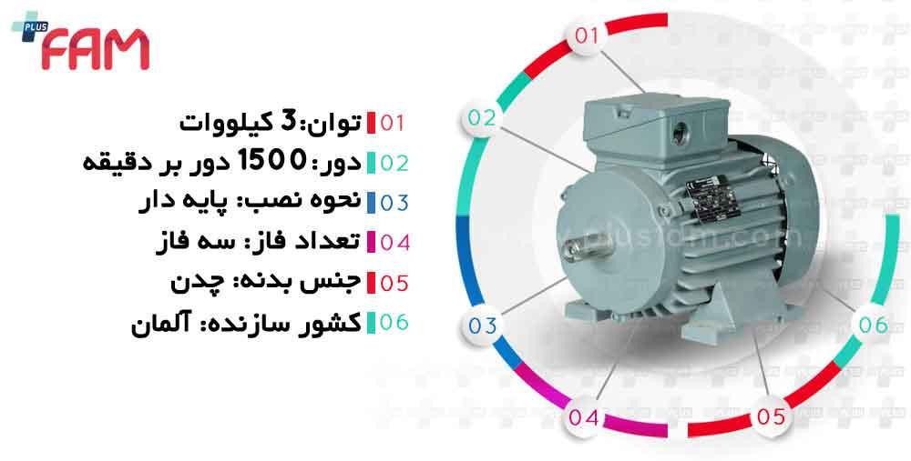 مشخصات فنی الکتروموتور وی ای ام 3 کیلووات 1500 دور