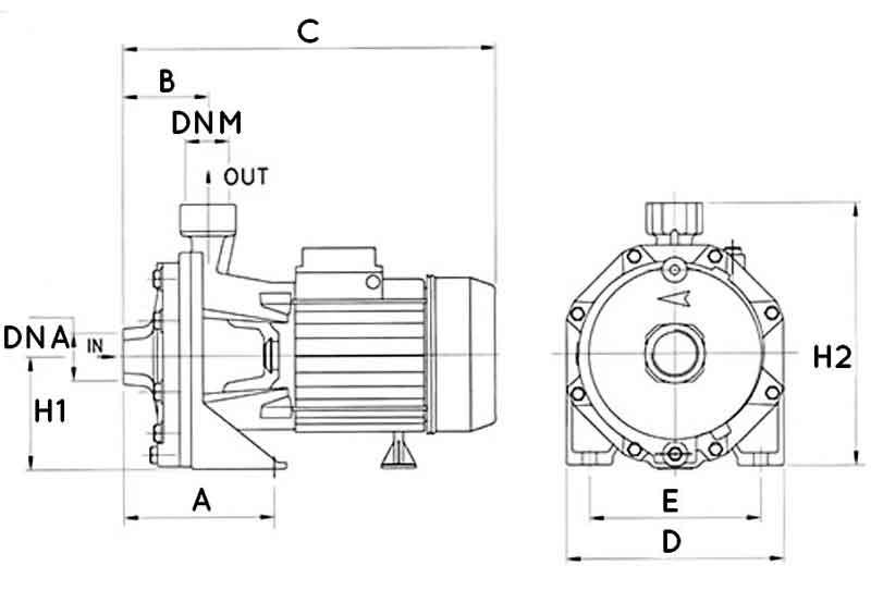 ابعاد پمپ آب دیزل ساز DB210/01