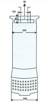 ابعاد منحنی عملکرد پمپ کف کش فدک F42/2 سه فاز 2 اینچ 42 متری