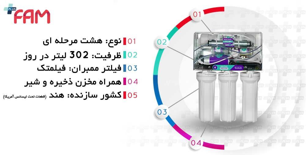 مشخصات فنی دستگاه تصفیه آب خانگی هیل تول ژوپیتر 8 مرحله ای