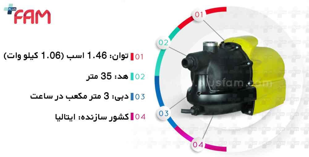 مشخصات فنی پمپ زمینی ایرچم Magic S1100 دو اینچ