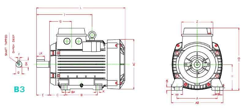 ابعاد الکتروموتور موتوژن 0.37 کیلووات 1500 دور