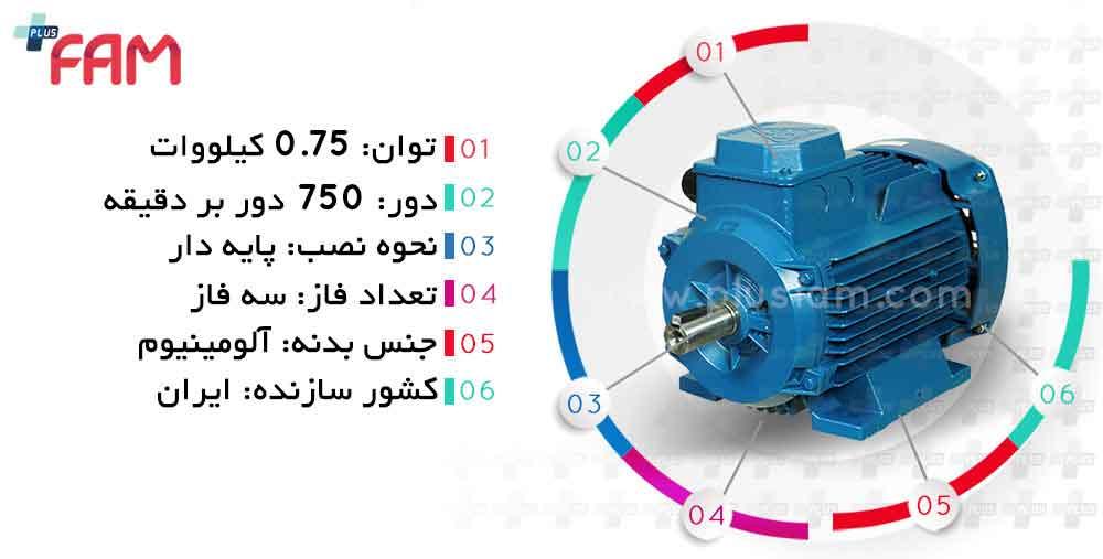 مشخصات فنی الکتروموتور موتوژن 0.75 کیلووات 750 دور