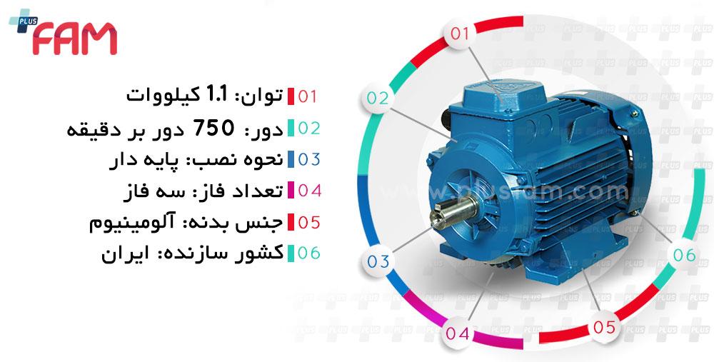 مشخصات فنی الکتروموتور موتوژن 1.1 کیلووات 750 دور