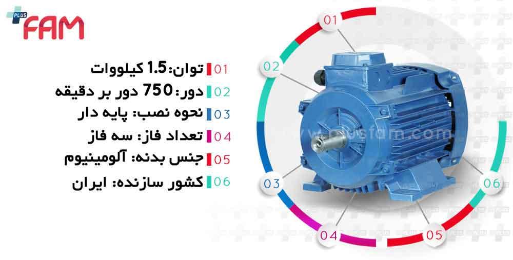 مشخصات فنی الکتروموتور موتوژن 1.5 کیلووات 750 دور