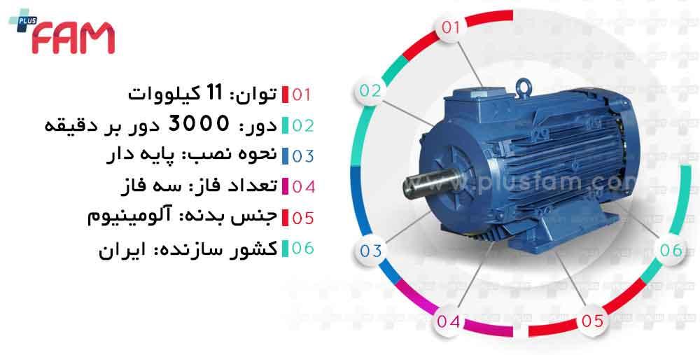 مشخصات فنی الکتروموتور موتوژن 11 کیلووات 3000 دور