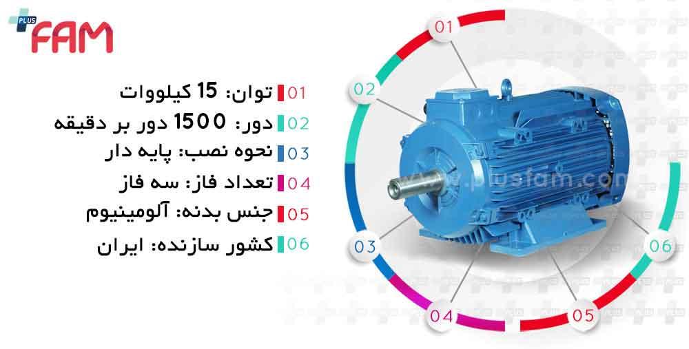 مشخصات فنی الکتروموتور موتوژن 15 کیلووات 1500 دور