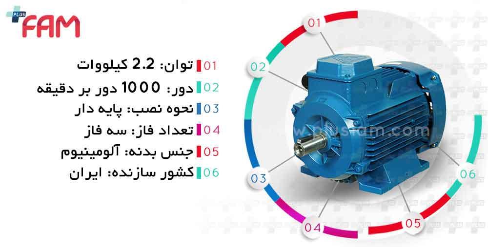 مشخصات فنی الکتروموتور موتوژن 2.2 کیلووات 1000 دور