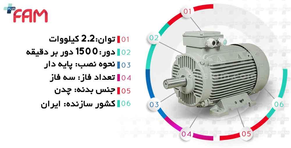 مشخصات فنی الکتروموتور موتوژن 2.2 کیلووات 1500 دور چدنی