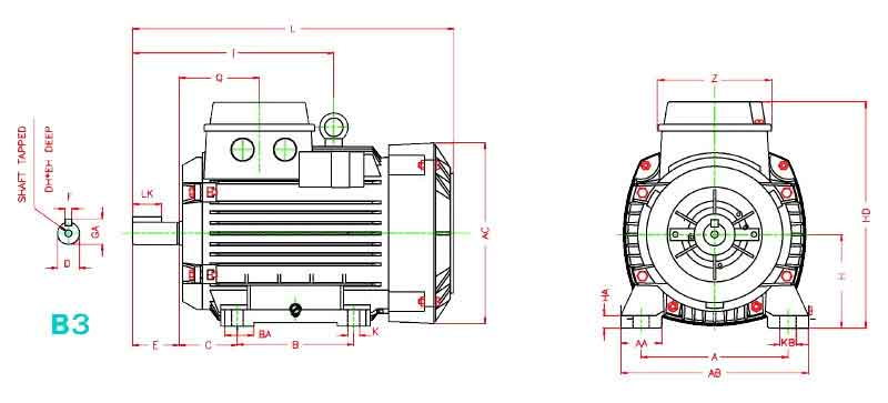 ابعاد الکتروموتور موتوژن 2.2 کیلووات 1500 دور