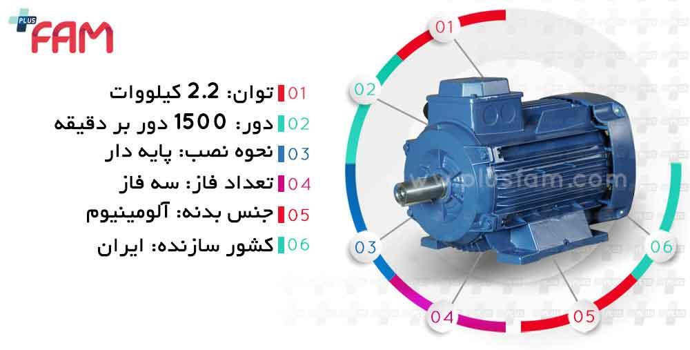 مشخصات فنی الکتروموتور موتوژن 2.2 کیلووات 1500 دور
