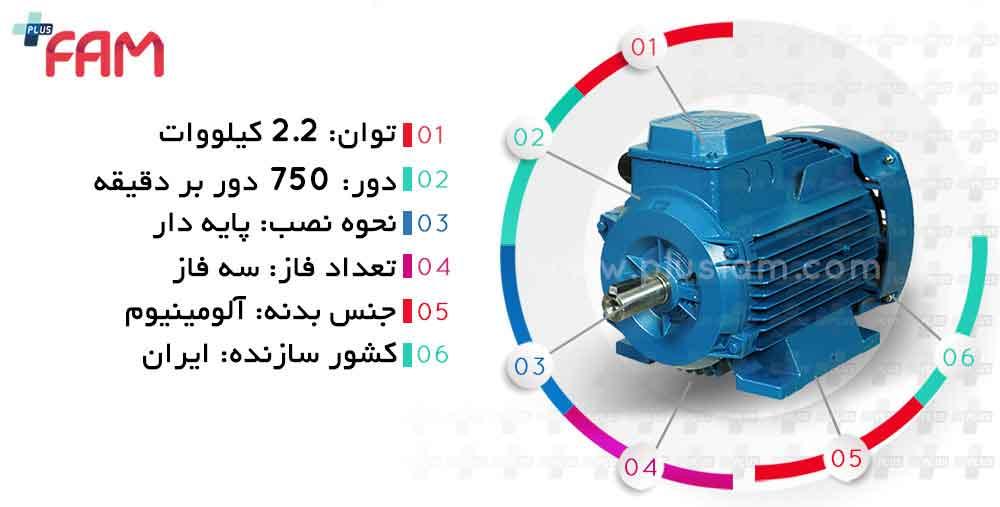 مشخصات فنی الکتروموتور موتوژن 2.2 کیلووات 750 دور
