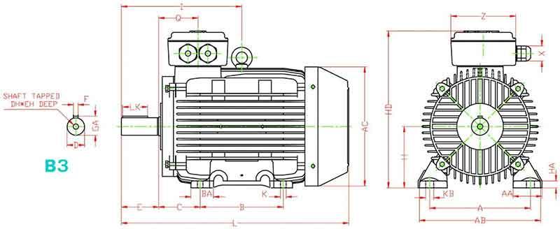 ابعاد الکتروموتور 3 کیلووات 1000 دور چدنی