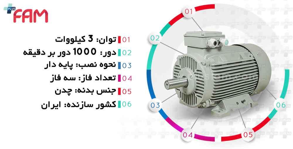 مشخصات فنی الکتروموتور موتوژن 3 کیلووات 1000 دور چدنی