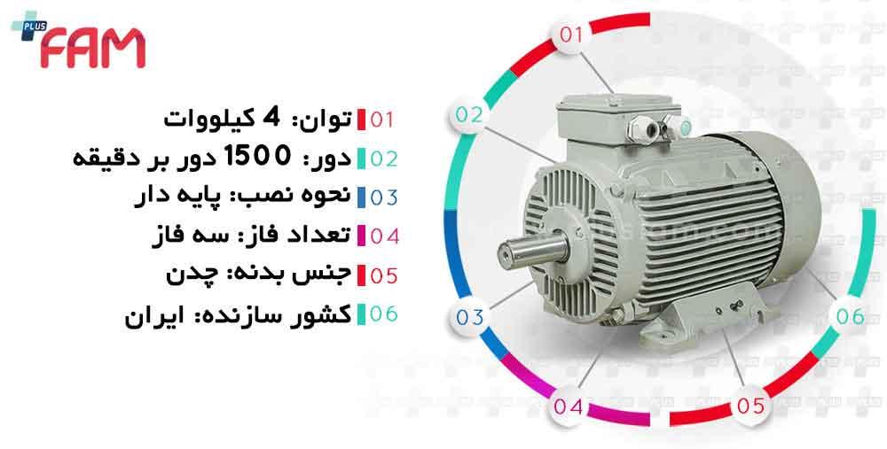 مشخصات فنی الکتروموتور موتوژن 4 کیلووات 1500 دور چدنی