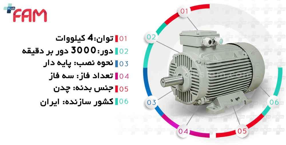 مشخصات فنی الکتروموتور موتوژن 4 کیلووات 3000 دور