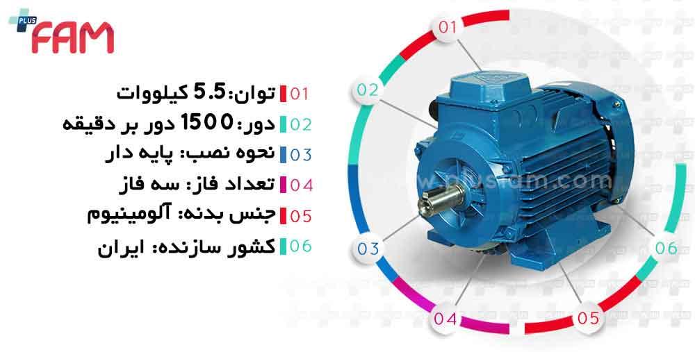 مشخصات فنی الکتروموتور موتوژن 5.5 کیلووات 1500 دور