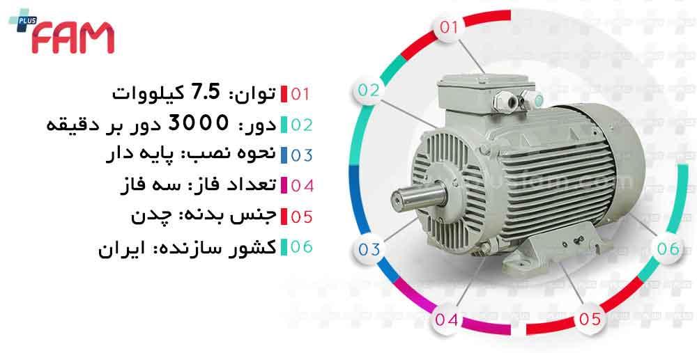مشخصات فنی الکتروموتور موتوژن 7.5 کیلووات 3000 دور چدنی