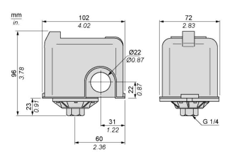 ابعاد کلید اتوماتیک اسکوار دی FSG 2