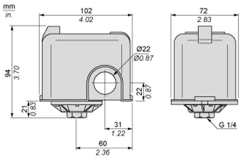 ابعاد کلید اتوماتیک اسکوار دی FYG 22
