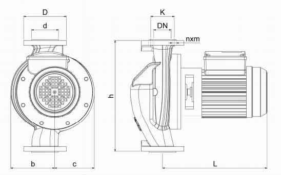 ابعاد پمپ سیرکولاتور سمنان انرژی 1 1/2 AA اینچ