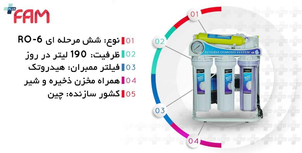 مشخصات فنی دستگاه تصفیه آب خانگی استریم 6 مرحله ای