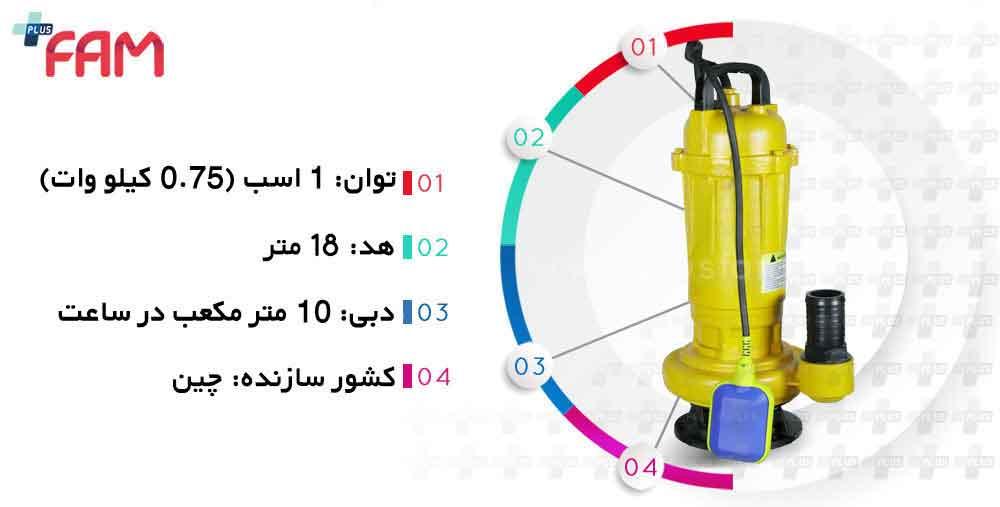 مشخصات فنی پمپ لجن کش هسل WQD10-18-0.75F فلوتر دار چدنی 2 اینچ