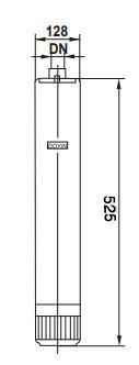 ابعاد پمپ کف کش استریم SCM5 تکفاز بدنه استیل ¼1 اینچ خازن بیرون 55 متری