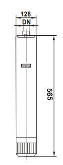 ابعاد پمپ کف کش استریم SCM6 تکفاز بدنه استیل ¼1 اینچ خازن بیرون 66 متری