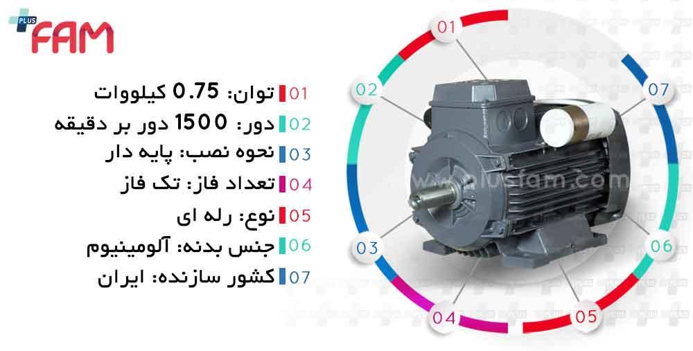 مشخصات فنی الکتروموتور موتوژن 0.75 کیلووات 1500 دور تک فاز رله ای