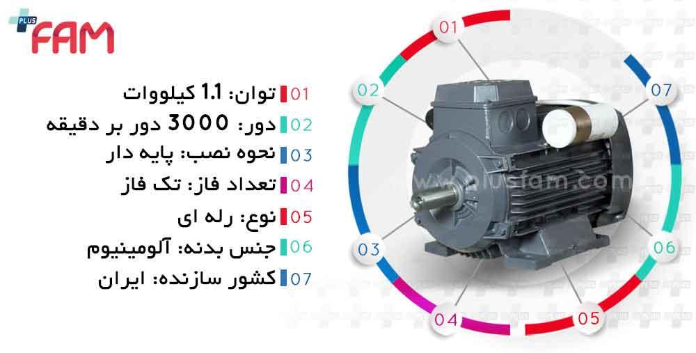 مشخصات فنی الکتروموتور موتوژن 1.1 کیلووات 3000 دور تک فاز رله ای