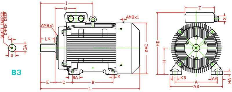ابعاد الکتروموتور موتوژن 15 کیلووات 1000 دور چدنی
