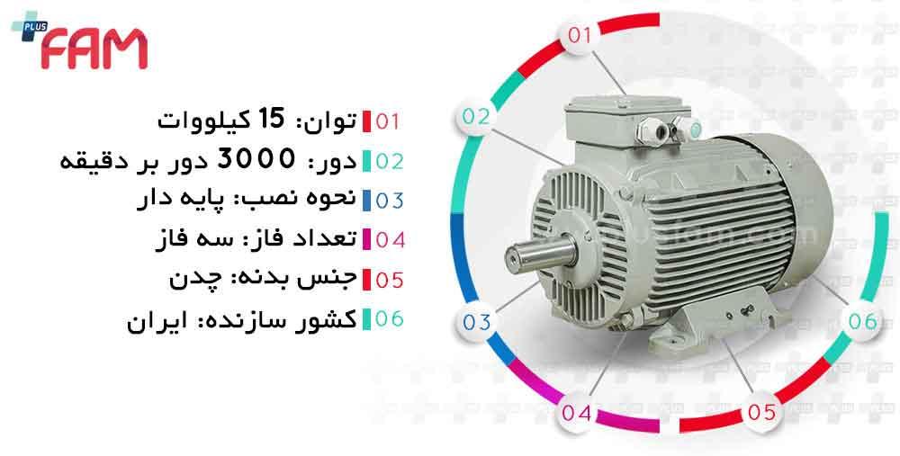 مشخصات فنی الکتروموتور موتوژن 15 کیلووات 3000 دور چدنی