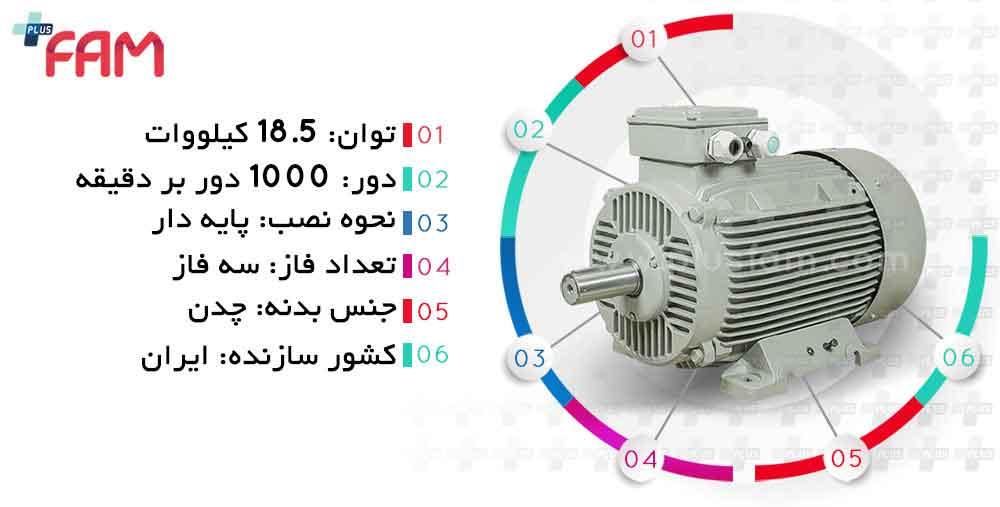مشخصات فنی الکتروموتور موتوژن 18.5 کیلووات 1000 دور چدنی