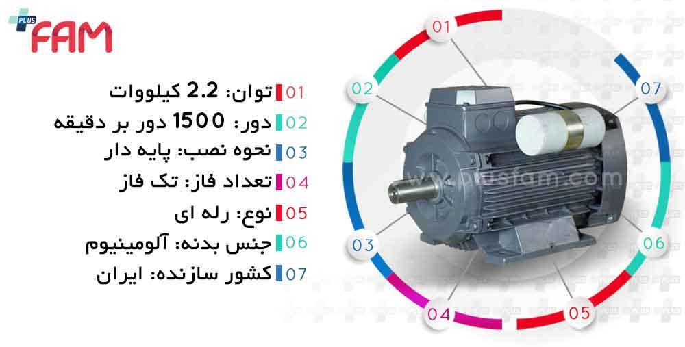 مشخصات فنی الکتروموتور موتوژن 2.2 کیلووات 1500 دور تک فاز رله ای